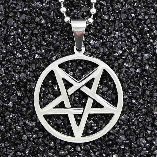 Downward pointing pentagram pentacle titanium steel satanism pendant downward pointing pentagram pentacle titanium steel satanism pendant necklace inverted pentagram satan gothic antichrist aloadofball Choice Image