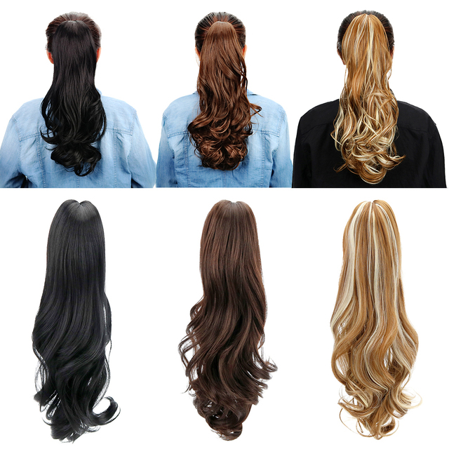 "18"" Synthetic Ponytail Wig Hair Extensions Claw on Hairpieces Brown Blonde Wave Clip In Ponytail Hair Extensions Heat Resistant"