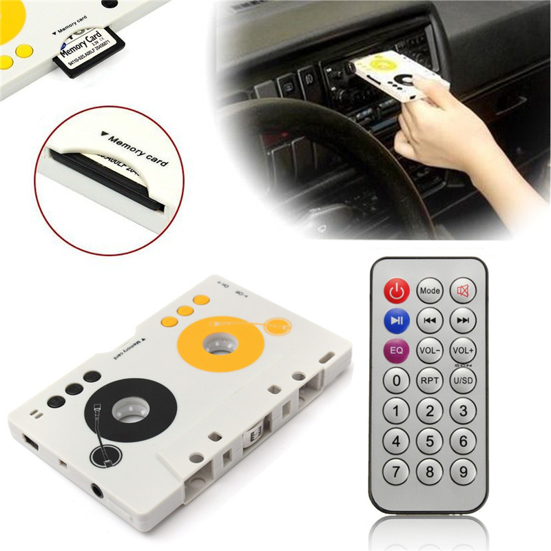 Portable Vintage Car Cassette SD MMC MP3 Tape Player Adapter Kit With Remote Control Instruction Ste