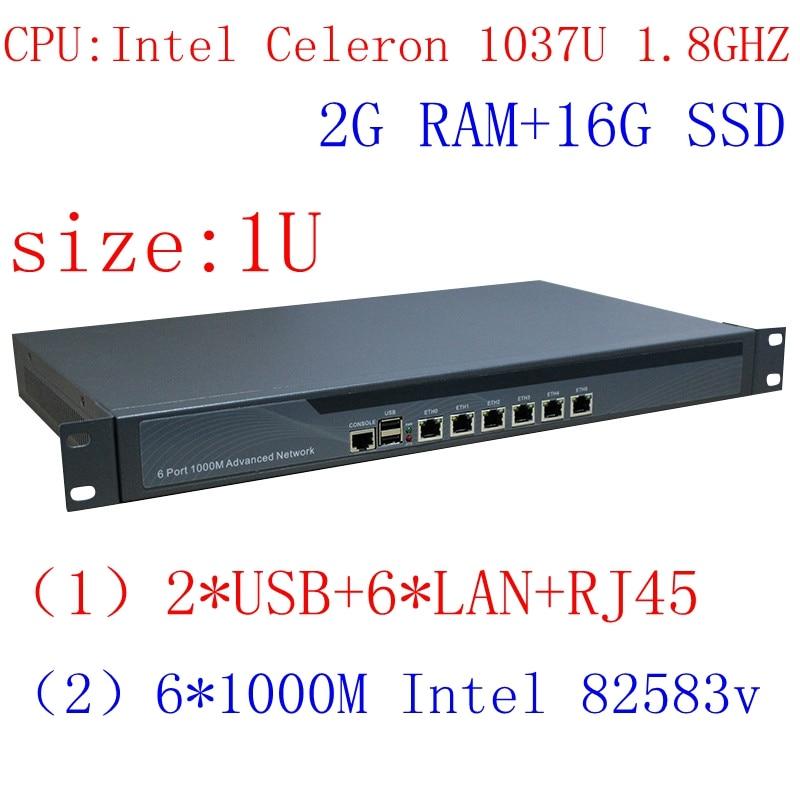 Multi Gigabit Network Port Routing Enterprise-class 1037u Firewall Router With Intel PCI E 1000M 6 82583v 2G RAM 16G SSD