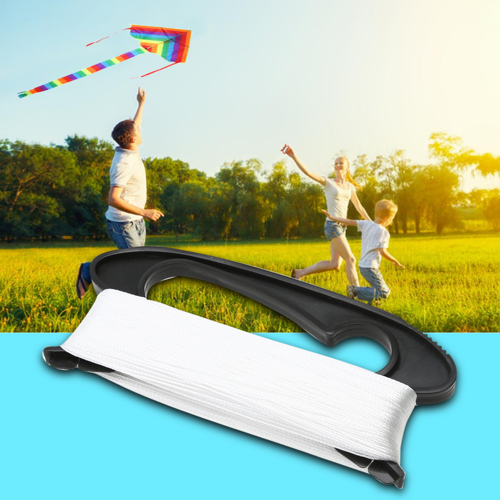100M White D Shape Flying Kite Line Black Plastic Line Board Flying Tools High Quality Polyester Outdoor Sports Flying Kite Line