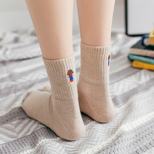 New womens fashion trend Harajuku autumn and winter embroidery villain high-grade cotton casual socks 1 pairs