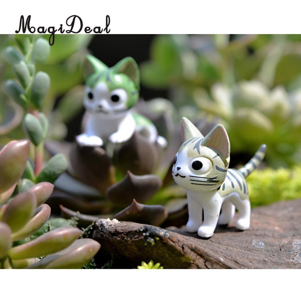 MagiDeal 6 piece Sweet Cheese Cat Miniature Fairy Garden Decoration ...