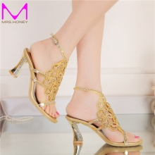 Plus Size 44 Bling Bling Gold Rhinestone Shoes Summer Open Toe Chunky Heel Wedding Shoes Ankle Strappy Party Prom Dancing Heels