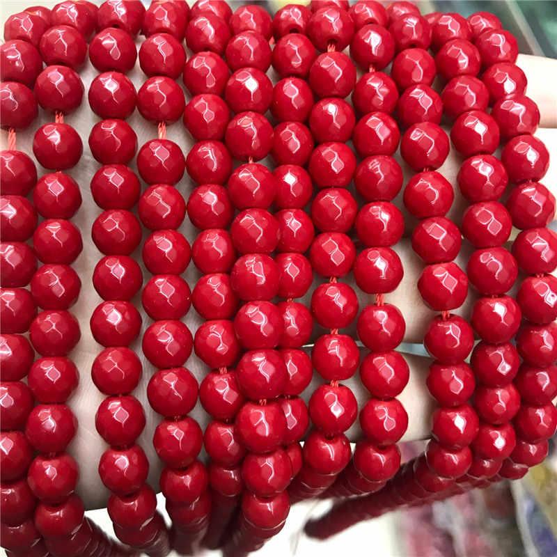 """หินธรรมชาติคุณภาพสูง Faceted สีแดง Coral รอบ Dayed สีอัญมณี 15 """"Strand 6/8/10 มิลลิเมตรสำหรับเครื่องประดับทำ"""