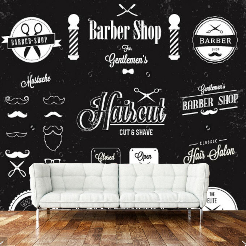 Modern 3d Wallpaper Barber Shop Label And Icon Mural For