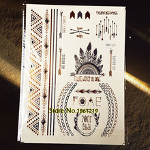 1PC Hot Indian Henna Tattoo Gold Feather Queen Crown Tatoo Arrow GT160 Flash Metallic Tattoo Armlet Temporary Tattoo Paper Paste