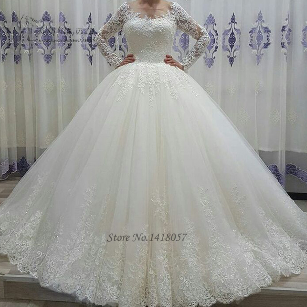 Vestido de Noiva Manga Comprida Puffy New Arrival Long Sleeve Wedding Gowns Lace Ball Gown Wedding
