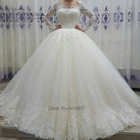 Vestido de Noiva Manga Comprida Puffy New Arrival Long Sleeve Wedding Gowns Lace Ball Gown Wedding Dresses Sequin Bride Dress