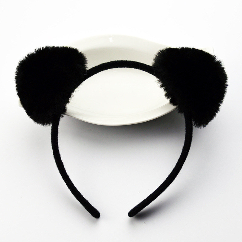 Double Side Hairbands Panda Cat Ears Faux Fur Devil