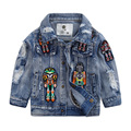 2016 New Arrival Boys Autumn Solid Long Sleeves Denim Jacket Cow 1-5Yrs boy Cartoon Robot Jeans Coats Kids Brand Casual Clothes