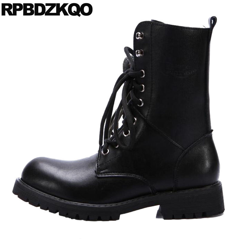 Chunky Winter Faux Fur Lined Boots Plus Size Ankle Black Lace Up Short Waterproof Military Combat British Style Men's Shoes Army faux fur lined flat ankle boots