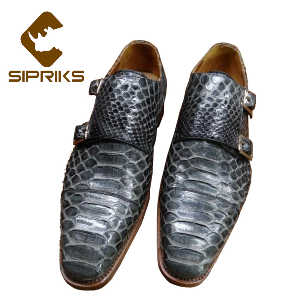 Shoes Sipriks Luxury Imported Stingray Skin Snakeskin Calf Leather Black Dress Shoes Boss Mens Handmade Goodyear Welted Shoes Gents 44 Men's Shoes