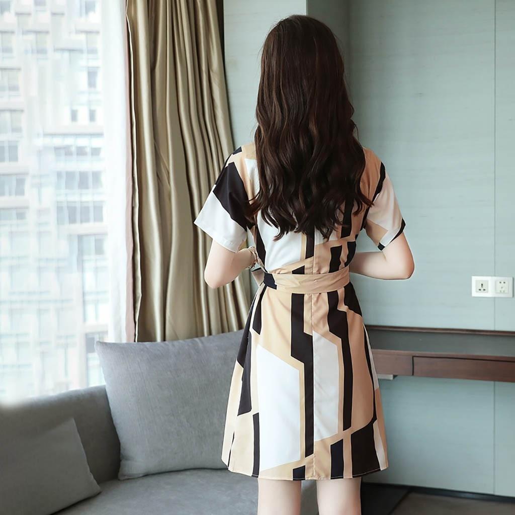 Elegant party dresses women evening 2019 Women Fashion Summer O-Neck Knee Length Short Sleeve Bandage Printing Dress sukienka