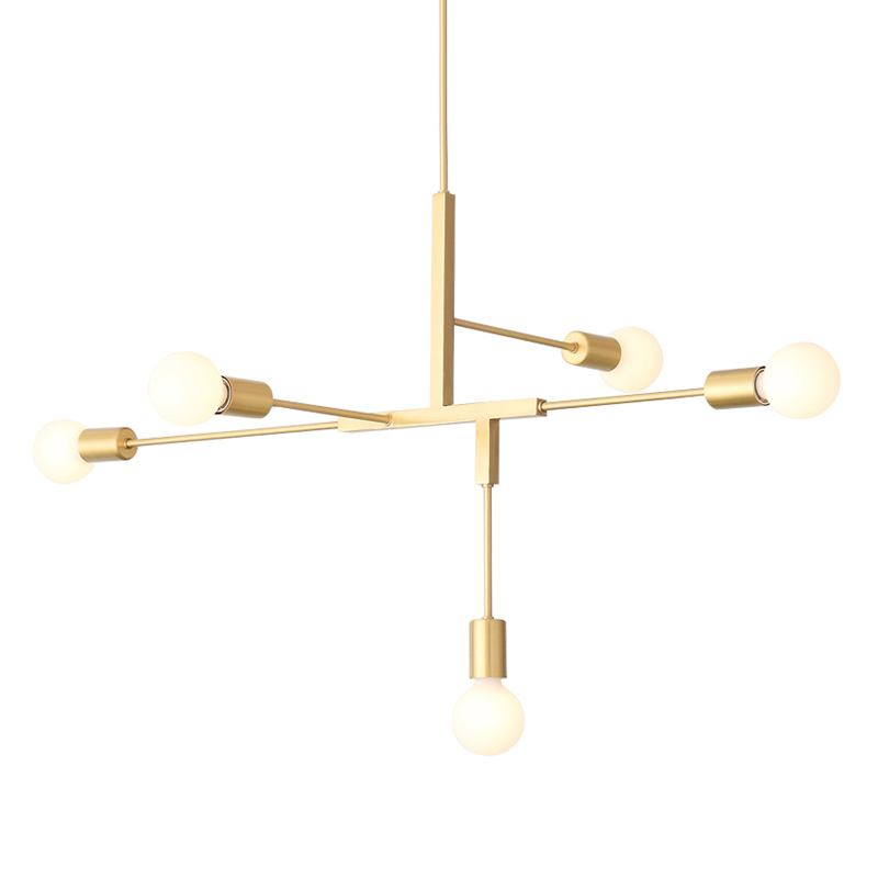 New Arrival Modern Creative Iron 5 Head Ceiling Light Restaurant Dining Room Nice Ceiling Lamp Indoor Golden Lighting(DQ 15)|Ceiling Lights| |  - title=