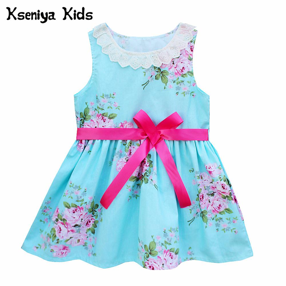 Kseniya Kids Summer Cotton Cute Baby Girl Lace Flower Print Dress 1 Year Birthday Dress  ...