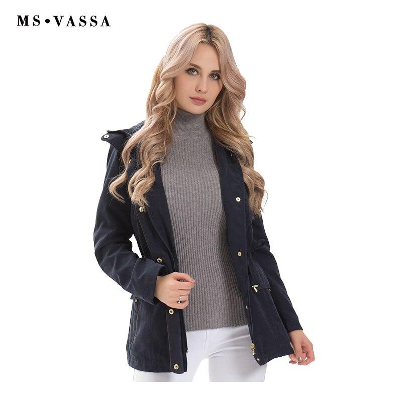 MS VASSA Dames Vestes Nouveau 2018 Femmes Automne Hiver Manteaux Réglable Taille amovible capot plus la taille 5XL 6XL femelle survêtement