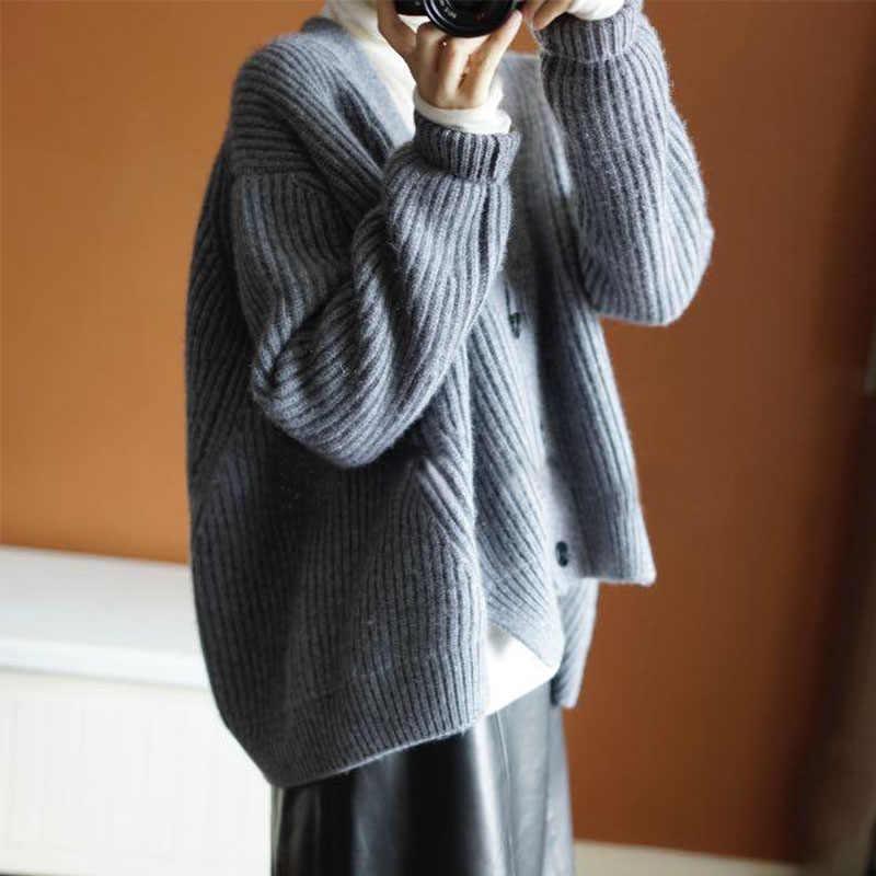 Brand cashmere grey cardigan v neck thickened bat coat sweater cashmere sweater women lazy wind loose jacket