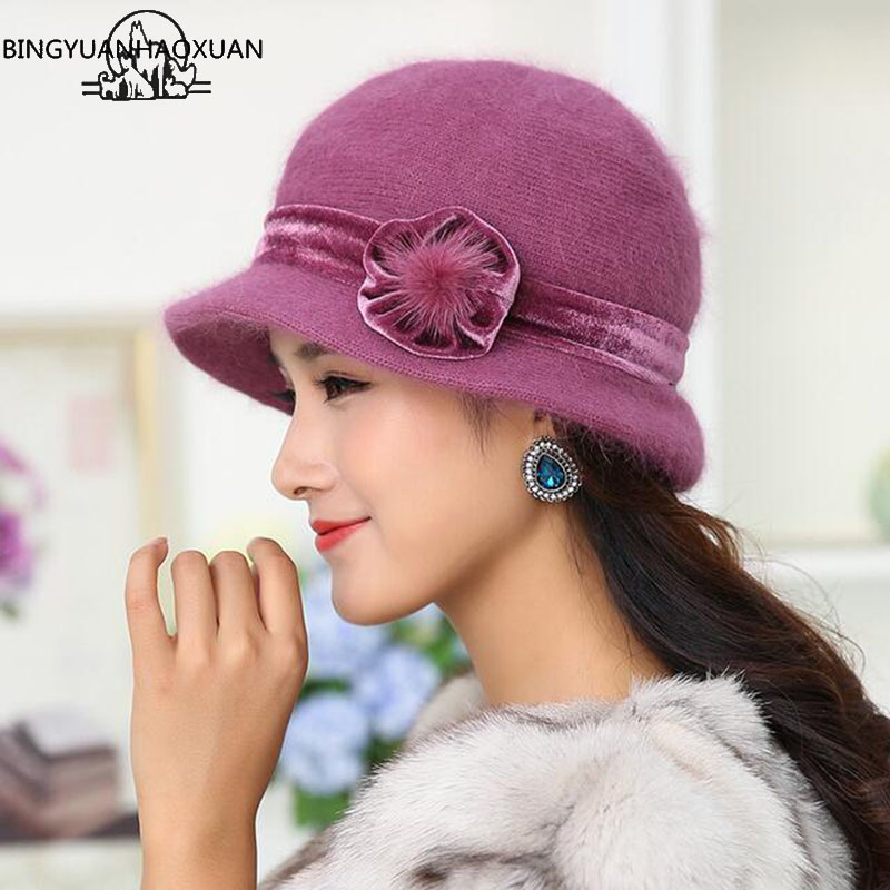 Winter Women Floral Skullies Sweet Mixed Rabbit Fur Middle-aged Mother Hat Warm Knitted Beanies Thick Velvet Hat