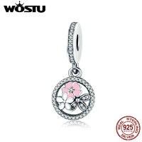 WOSTU New Trendy 925 Sterling Silver Poetic Blooms Dangle Charm Fit Original Pandora Beads Bracelet Fashion
