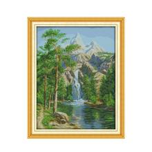 Joy Sunday Cross Stitch Landscape Needlework Embroidery Kit High Mountain and Flowing Water Picture Print