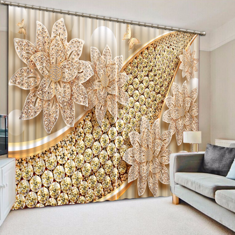 Jewelry Flowers 3D Curtains Kitchen For Bedroom Blackout