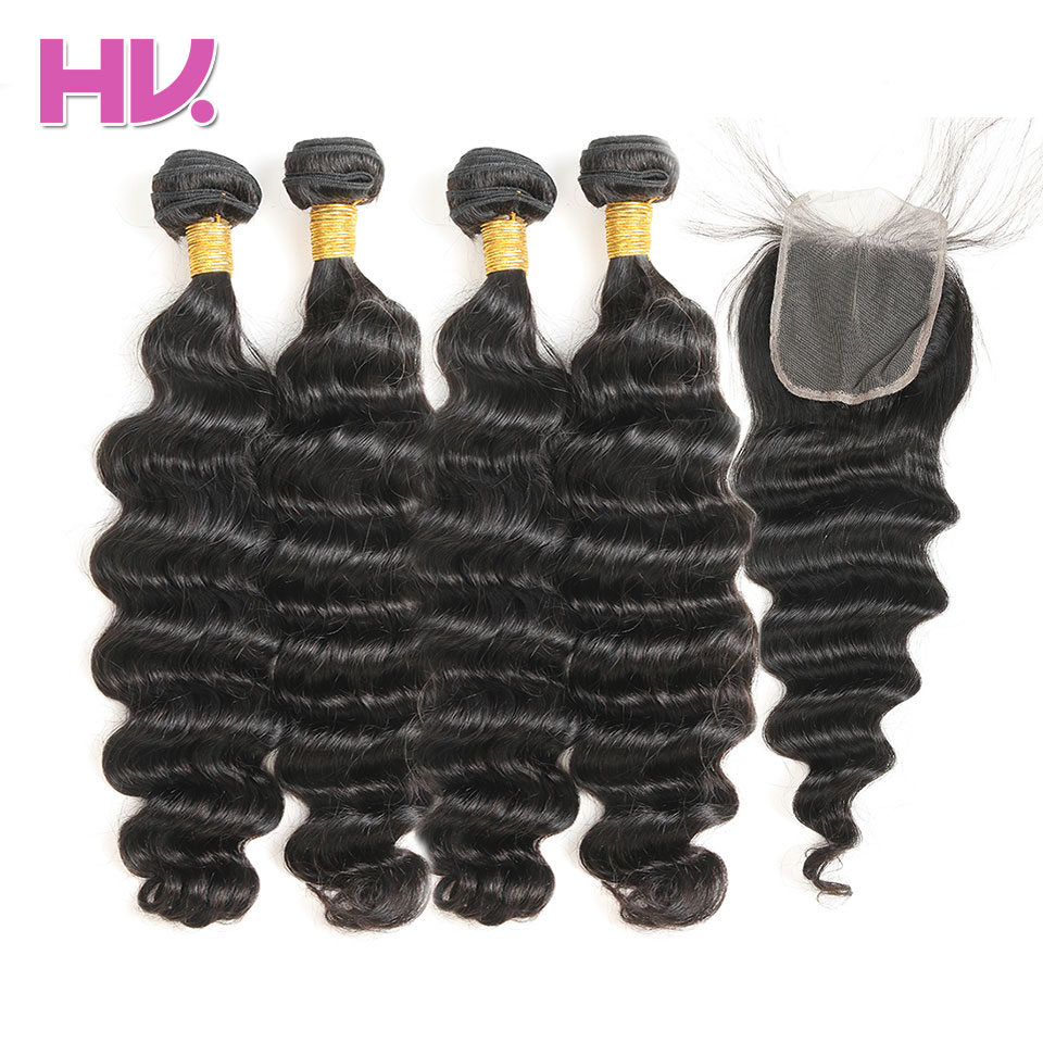 Hair Villa Pre-Colored Brazilian Loose Deep #1B Nature Black Non Remy Human Hair Weave 4 Bundles With 4*4 Lace Closure