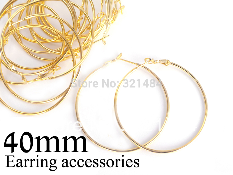 Bulk 500pc lot gold plated 40mm french circle hooks earring backs hoop earring findings for jewelry