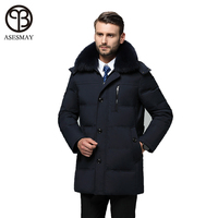 Asesmay brand clothing men down jacket mens winter coats smart casual high quality real fur collar goose feather thick parkas