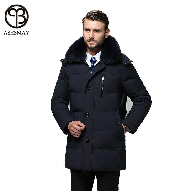 Asesmay marque vêtements hommes vers le bas veste hommes manteaux d'hiver smart casual haute qualité réel col de fourrure plume d'oie épais parkas