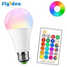 Magic ตกแต่ง 5W 10W 15W RGB + สีขาวสมาร์ทรีโมทคอนโทรลอินฟราเรดหลอดไฟ E27 85 265V LED เปลี่ยนสี