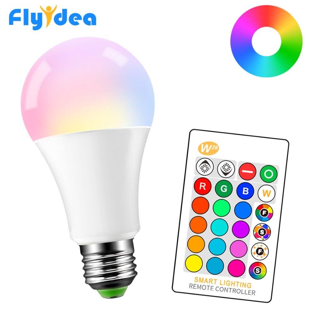 Magic Decorative Lighting 5W 10W 15W RGB+White Smart Infrared Remote Control Bulb E27 85-265V LED Color Change Light