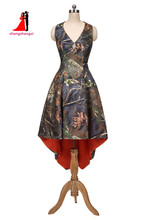 Oransje Camouflage brudepike kjoler Plus Size Bryllupsfest Kjoler Maid of Honor Camo Hi-Lo Prom Dress