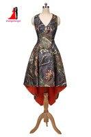 2017 Nova Laranja Camuflagem Camo Plus Size Hi-Lo Da Dama de Honra Vestidos Halter Vestido de Baile Festa de Casamento Vestido de Dama de honra