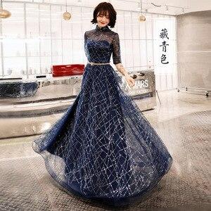 Image 1 - אונליין שמלת ערב חצי שרוול הניצוץ כחול אופנה חדשה פורמליות שמלות נשף אלגנטי רוכסן רצפת אורך נשים המפלגה שמלת E066