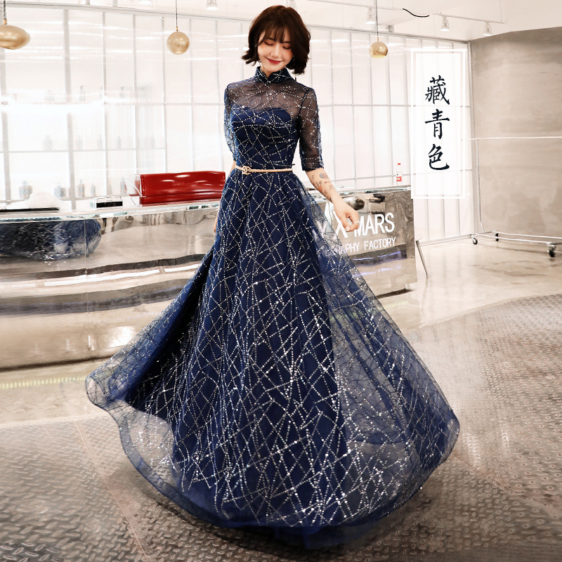 A-line Evening Dress Half Sleeve Shining Blue New Fashion Formal Prom Dresses Elegant Zipper Floor Length Women Party Gown E066