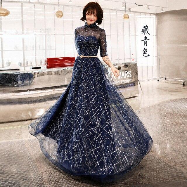 A line فستان سهرة نصف كم أزرق لامع موضة جديدة فساتين لحضور الحفلات الموسيقية أنيقة سستة طول الأرض المرأة ثوب حفلة E066