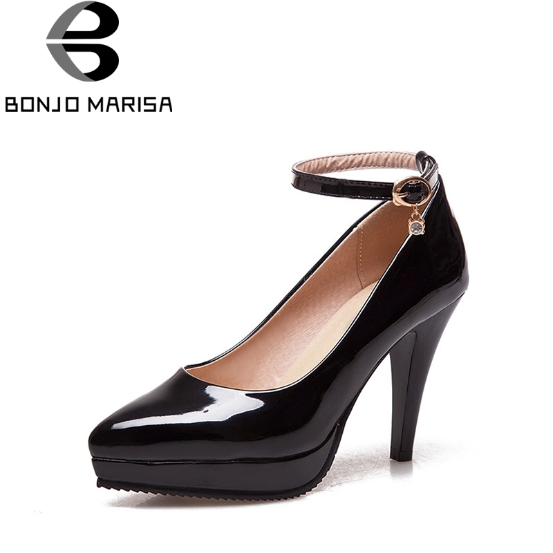 BONJOMARISA 2018 Spring Autumn Sexy Platform Pumps Large Size 33-43 High Heels Shoes Woman Pointed Toe Party Wedding Women Shoes цена