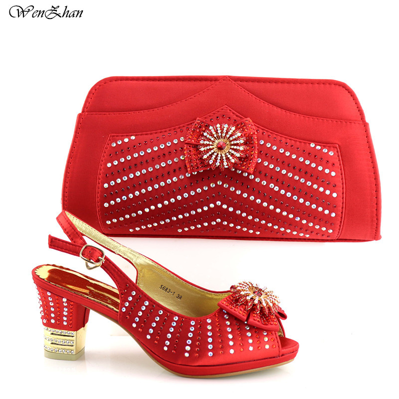 African shoes and bag set red high heel Italian shoe with matching bag With Appliques good selling ladies matching sets C87-24 hot artist shoes and bag set african sets italian shoes with matching bags high quality women shoes and bag to match set mm1055
