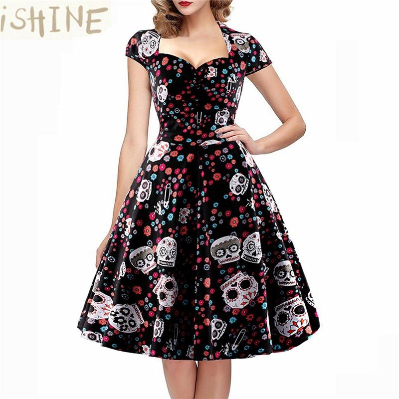 ISHINE 2018 vasaras Vintage kleita Retro Patchwork ziedu druka Sieviešu ziedu cukura galvaskausa vāciņa šūšana.