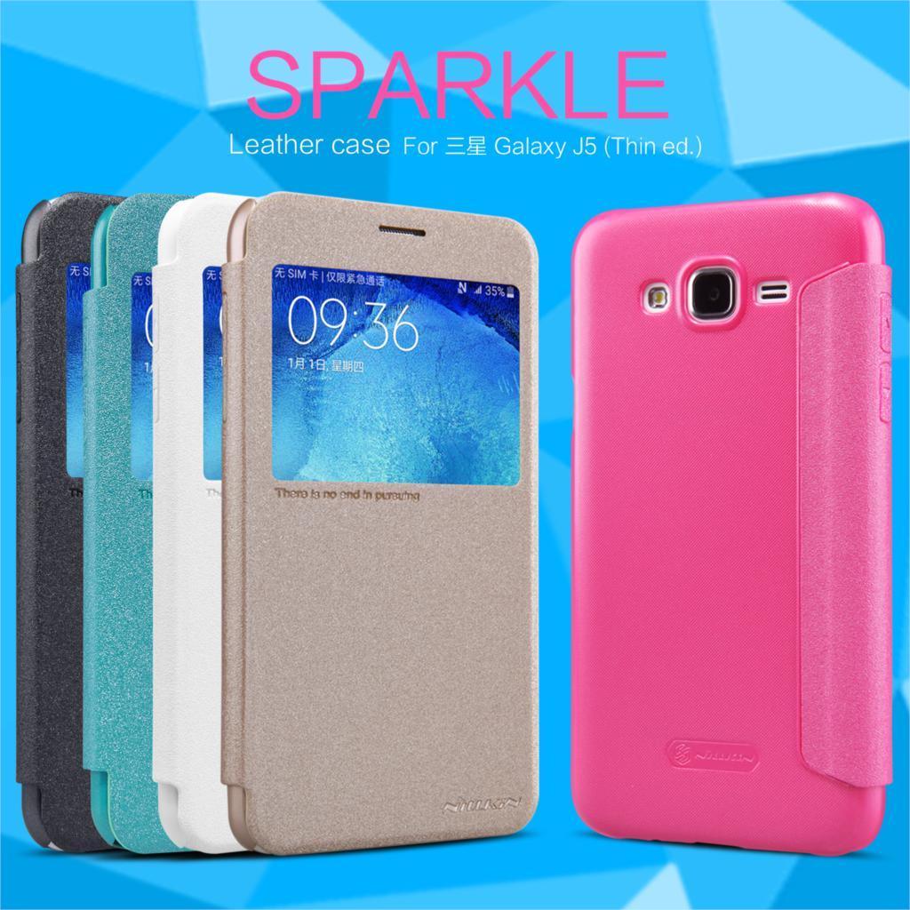 Galleria fotografica Nillkin Sparkle Series PU leather Case For Samsung Galaxy J5 2015 J500FN J500F J500M (Thin ed) 5.0