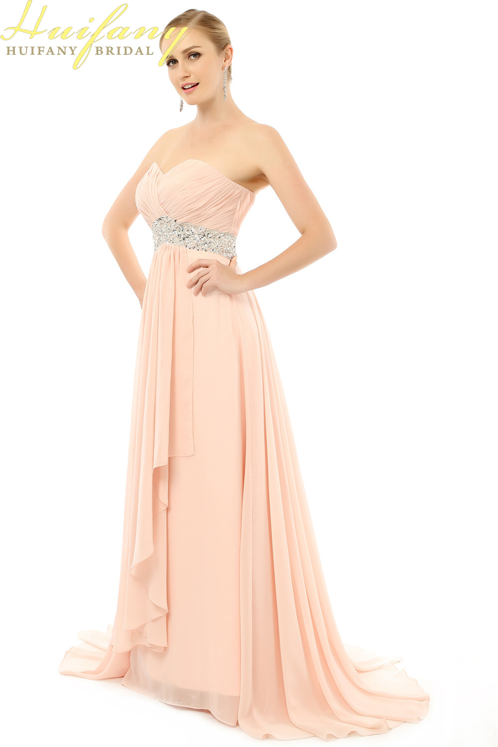 Strapless Coral Colored Bridesmaid Dresses With Beading Sashes Long