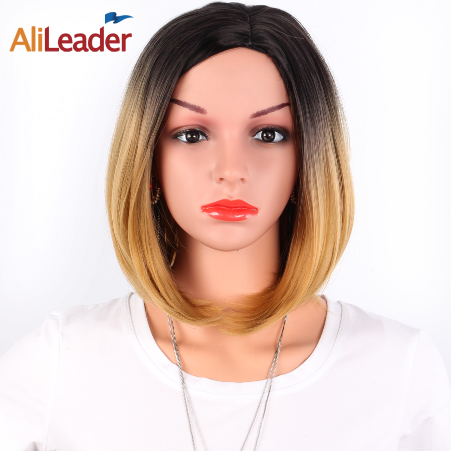 AliLeader Hair Products Short Synthetic Wig With Bangs, Middle Part Burgundy Green Silver Ombre BOB Style Wig For Black Women