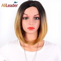 AliLeader Saç Ürünleri Kısa Sentetik Peruk Patlama Ile, orta Kısmı Bordo Yeşil Gümüş Siyah Kadınlar Için Ombre BOB Tarzı Peruk
