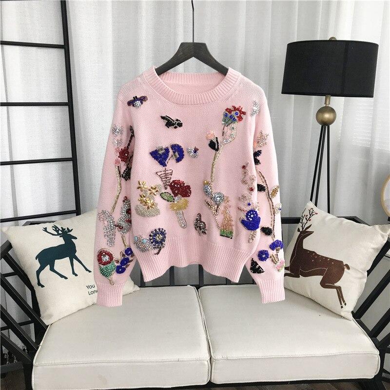 Gruiiceen Новинка осени Роскошные бисером свитер женщин дизайнерский трикотажные Круглый воротник свитера модные пуловеры GY2018141