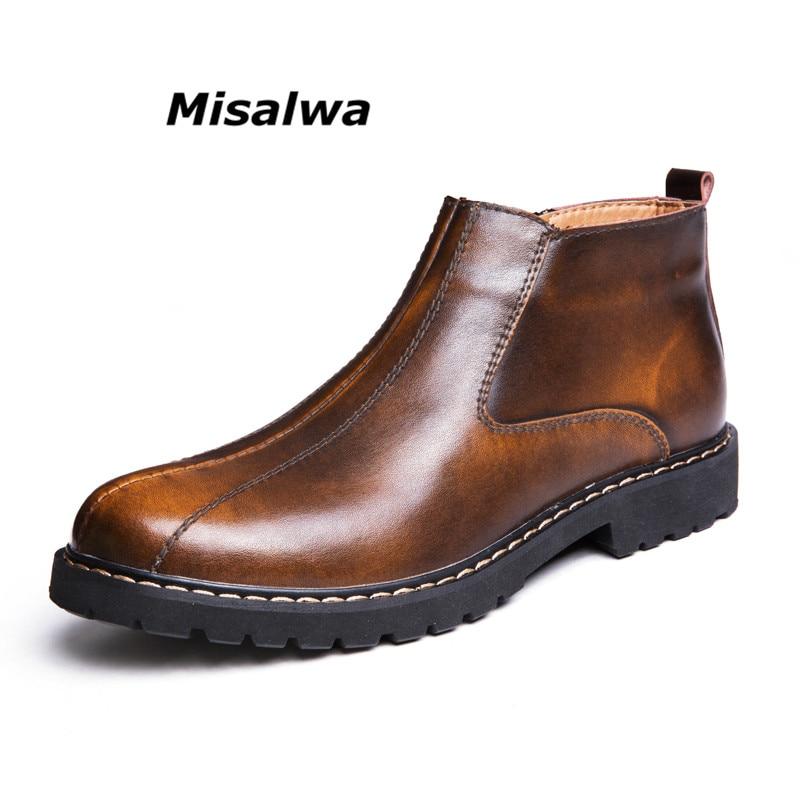 Misalwa Nouvelle Arrivée De Luxe Marque Chelsea Bottes Hommes Rétro En Cuir Véritable Zipper Cheville Bottes Garçons Haute Top Affaires Militaires Chaussures