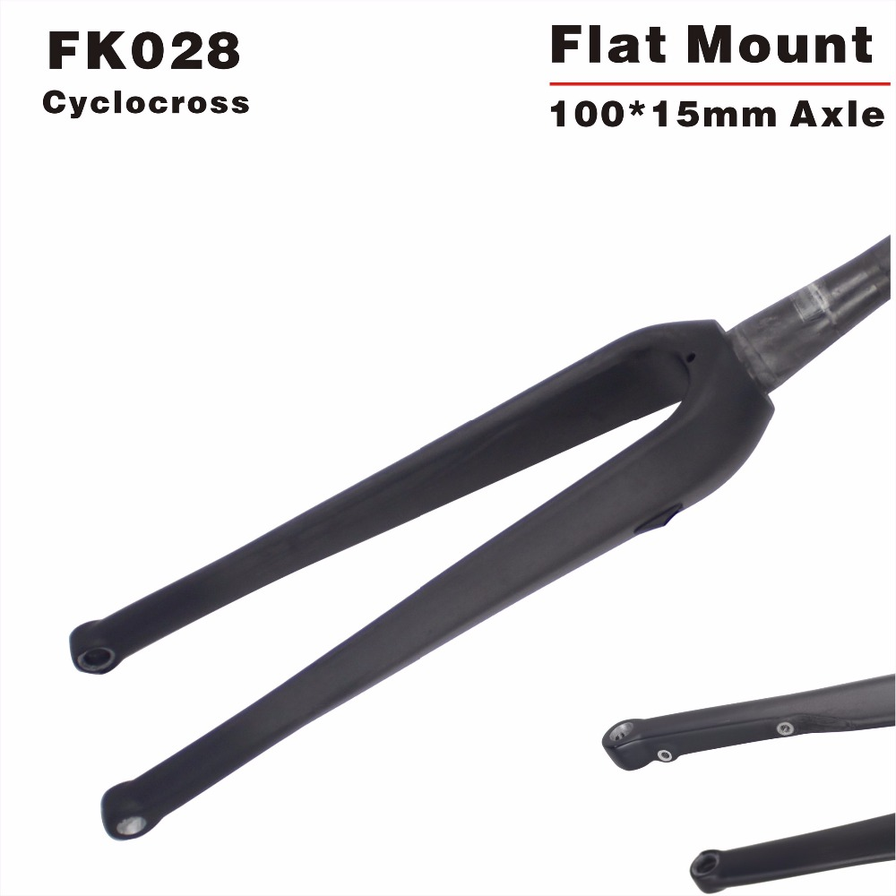 MIRACLE Bikes Cyclocross Carbon Fork FK028 Flat Mount CX Road Bike Bicycle Fork UD include 15*100mm Thru Axle цена 2017