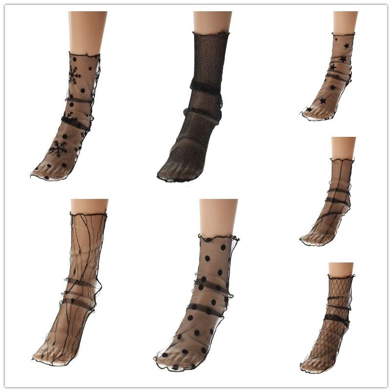 1Pair Fashion Casual Black Soft Sexy Women Lady   sock   Summer Fashion Transparent Fishnet   Socks   Mesh Ankle Hot