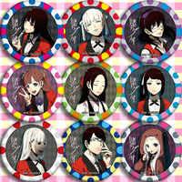 10 typ für Anime Kakegurui: Zwanghaften Gambler Yomoduki Runa Saotome Meari Jabami Yumeko Cosplay Prop Brosche Abzeichen Emblem