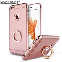Edwo pour apple iphone 5 5s se 6 6 s 7 plus anneau boucle hoder 3d placage en métal bord 3 en 1 en plastique téléphone sac mat couverture arrière case